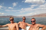 zon in de boot Lake Mead Las Vegas